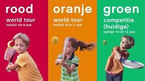 rood oranje groen kids tennis